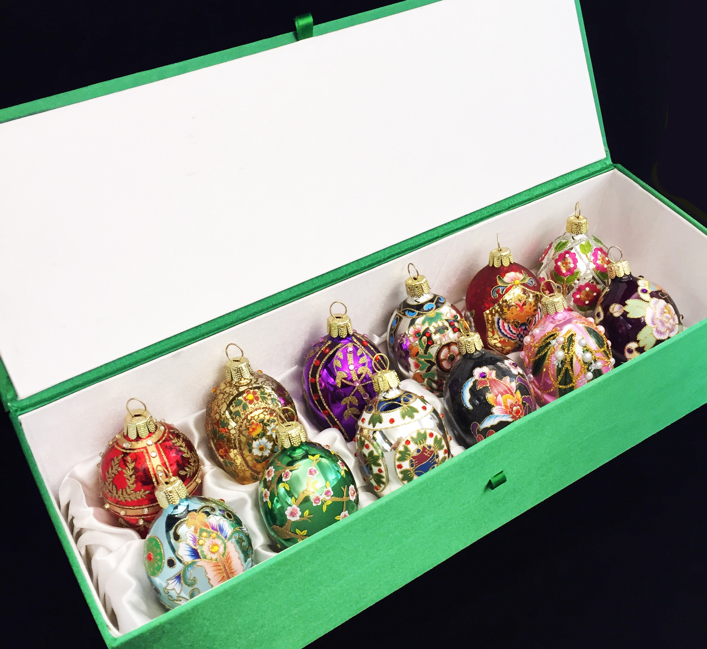 2016 Set of 12 Mini Russian Inspired Egg Ornaments