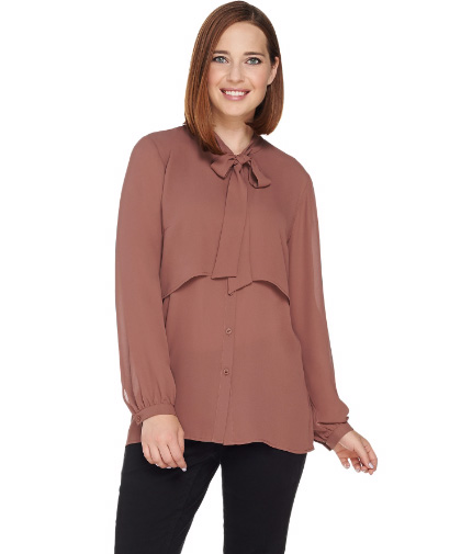 Layered Girlfriend Shirt with Tie Neck