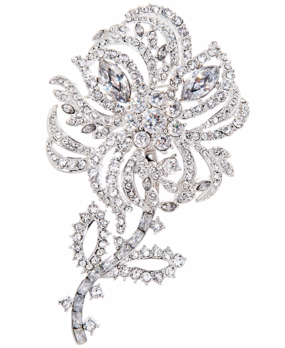 Pave Crystal Flower Brooch with Removable Stem