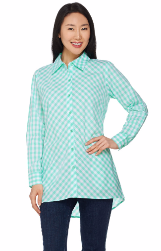 Gingham Boyfriend Shirt with Hi-Low Hem
