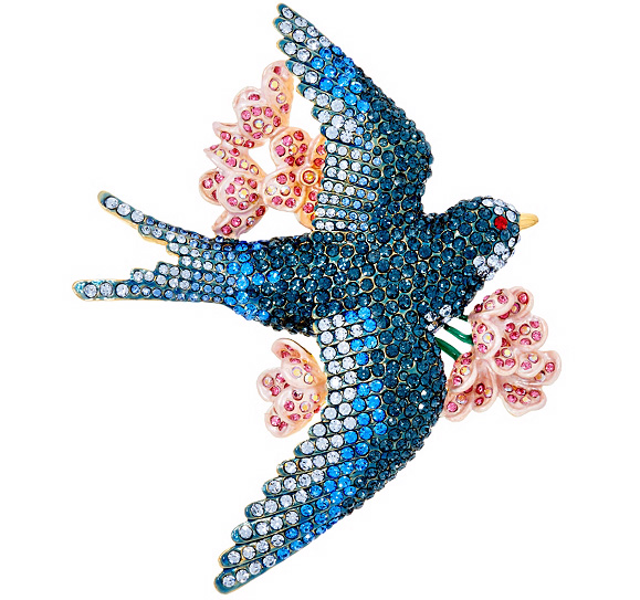 Pave' Bluebird of Happiness Brooch