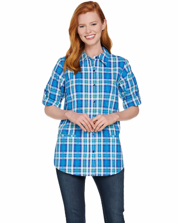 Plaid Seersucker Boyfriend Shirt