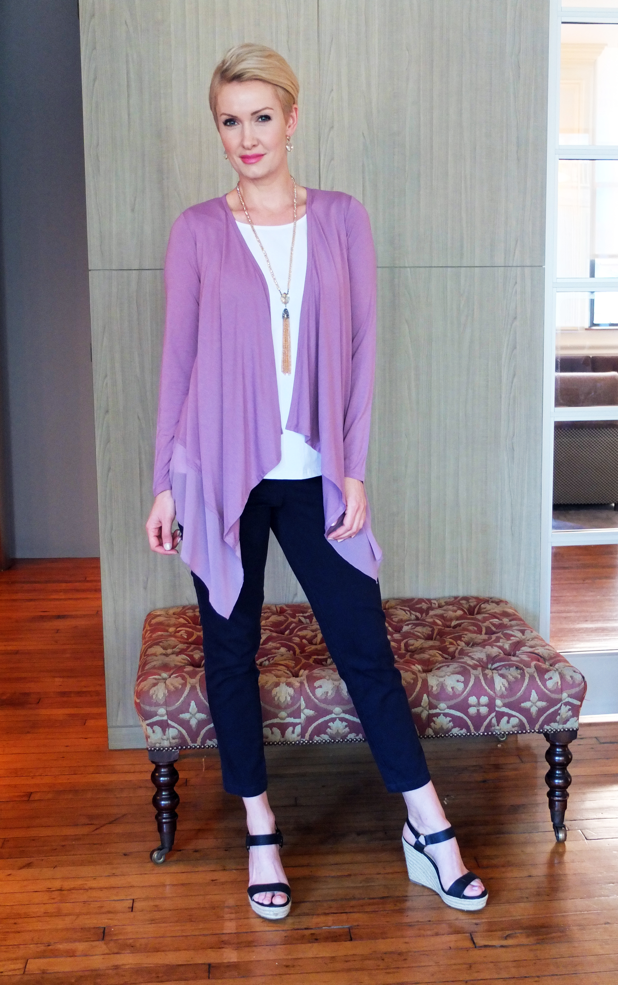 Jersey Knit and Chiffon Draped Cardigan