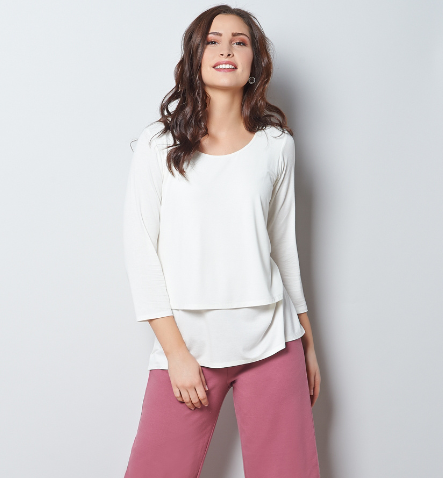 Jersey Knit Layered Top with 3/4 Sleeves