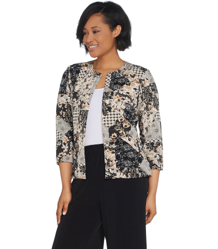 Patchwork Print Jacket with 3/4 Sleeves
