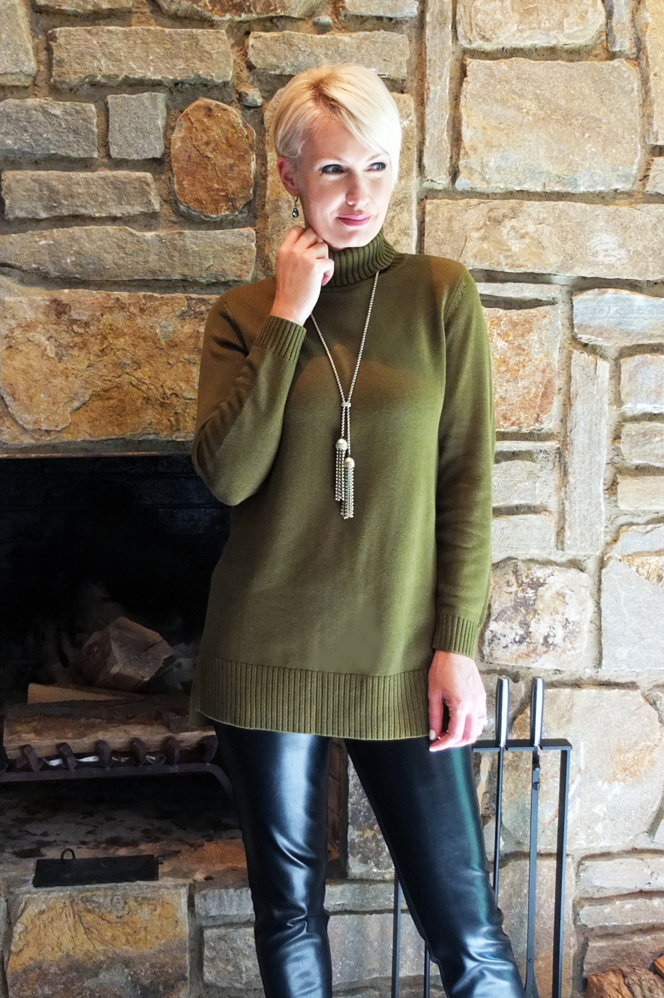 Turtleneck Tunic with Hi-Low Hem