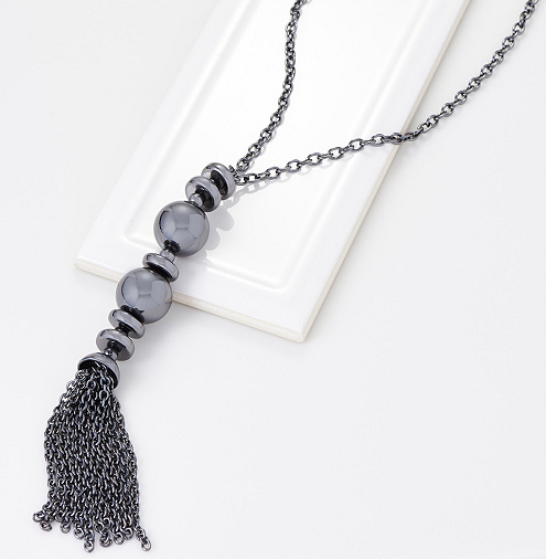 "Metallic Glamour 30"" Double Ball Tassel Necklace"