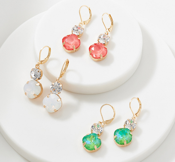 Set of 3 Crystal Earrings with Double Drop