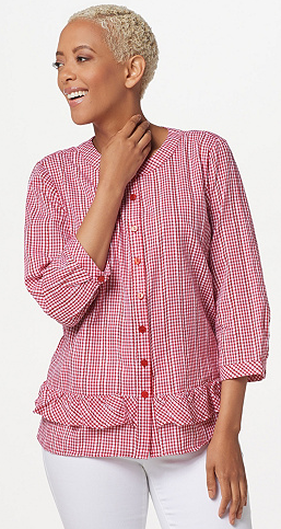Gingham Button Front Blouse with Ruffles